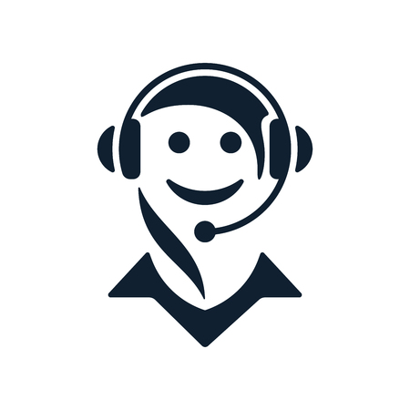 Call center operator icon on white background.