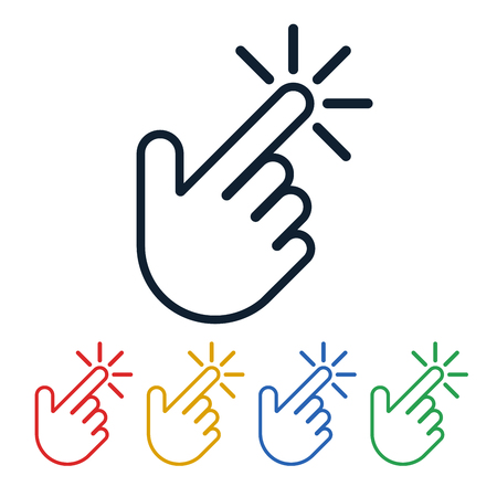 Click icons with hand shaped on white background. Touch symbols design. Finger is pushing the button.