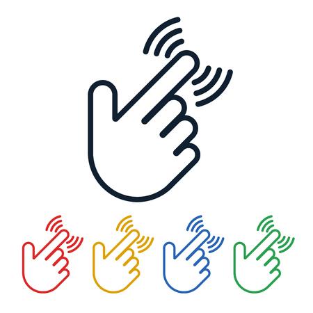 Fare clic sulle icone con la forma a mano su sfondo bianco. Tocca il design dei simboli. Il dito sta premendo il pulsante. Vettoriali