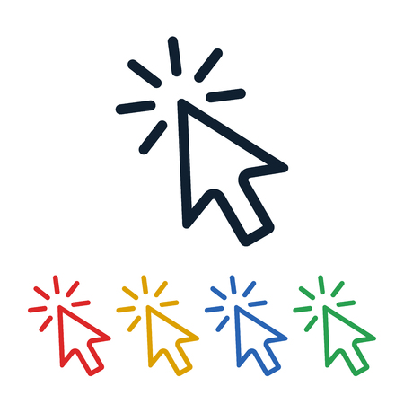 Click icons with cursor on white background. Cursor shaped touch symbols design.