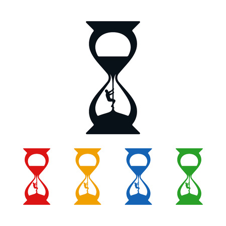 Climber climbing up in hourglass on white background. Icon design about time.