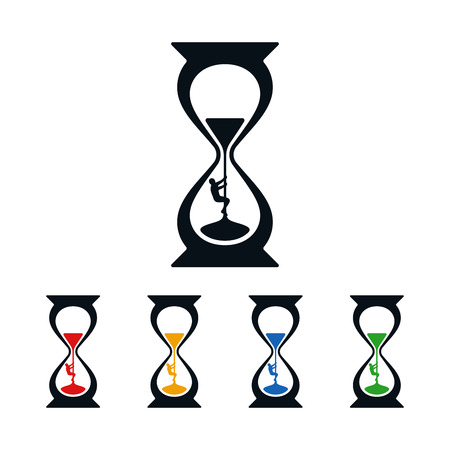 Climber climbing up in hourglass on white background. Icon design about time. Stockfoto - 117410828