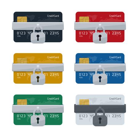 Concept de sécurité des transactions d'achat en ligne, icône de carte de crédit avec cadenas sur fond blanc. Conception de concept financier. Vecteurs