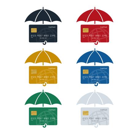 Credit card icon with umbrella, credit card protection concept on white background. Finance concept design. Illusztráció