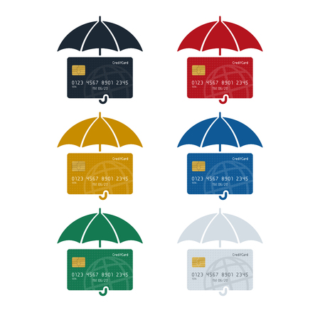 Credit card icon with umbrella, credit card protection concept on white background. Finance concept design. Illustration