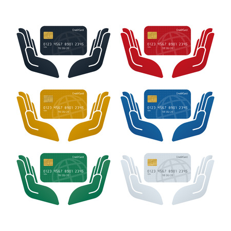 Credit card security concept, credit card in hands on white background. Finance concept design.