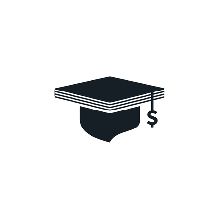 Graduation cap with dollar sign and book shaped on white background. Educational and financial concept design.