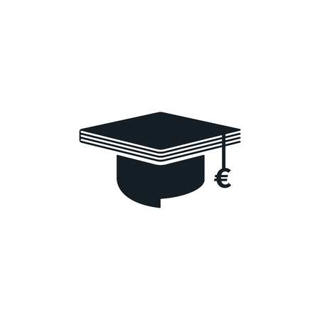 Graduation cap with euro symbol and book shaped on white background. Educational and financial concept design.