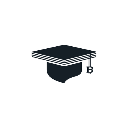 Graduation cap with bitcoin and book shaped on white background. Educational and financial concept design.