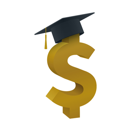 Graduation cap with dollar sign on white background. Educational and financial concept design. Illustration