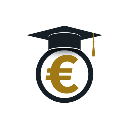 Graduation cap with euro symbol on white background. Educational and financial concept design.