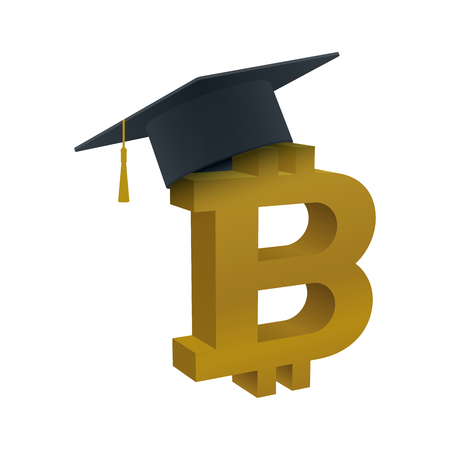 Graduation cap with bitcoin on white background. Educational and financial concept design.