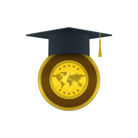 Graduation cap with gold on white background. Educational and financial concept design. Illustration