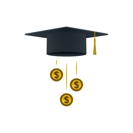 Education support icon with dollar coins and graduation cap on white background. Educational and financial concept design.