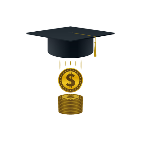 Education support icon with dollar coins stack and graduation cap on white background. Educational and financial concept design.