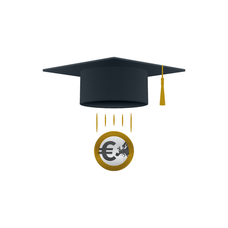 Education support icon with euro coin and graduation cap on white background. Educational and financial concept design. Illustration