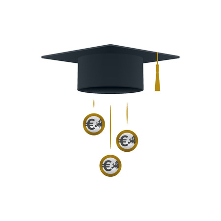 Education support icon with euro coins and graduation cap on white background. Educational and financial concept design. Illustration