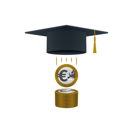 Education support icon with euro coins stack and graduation cap on white background. Educational and financial concept design.