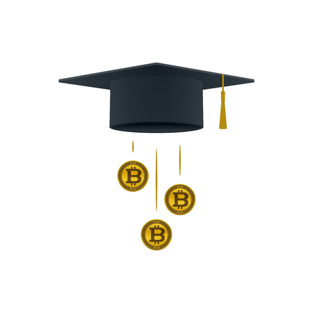 Education support icon with bitcoins and graduation cap on white background. Educational and financial concept design. Illustration