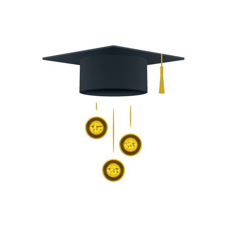 Education support icon with golds and graduation cap on white background. Educational and financial concept design. Illustration