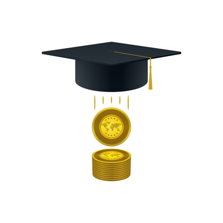 Education support icon with golds stack and graduation cap on white background. Educational and financial concept design.