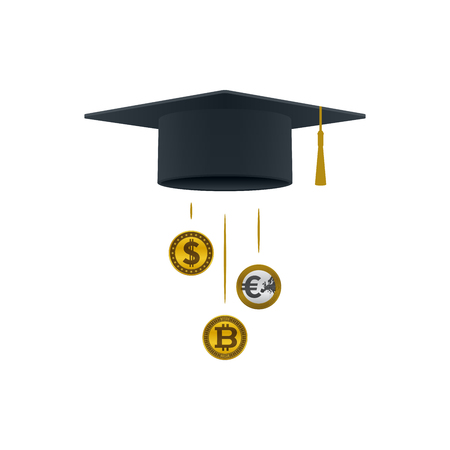 Education support icon with dollar coin, euro coin, bitcoin and graduation cap on white background. Educational and financial concept design.