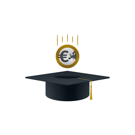Concept of invest in education with euro coin and graduation cap shaped on white background. Educational and financial concept design.