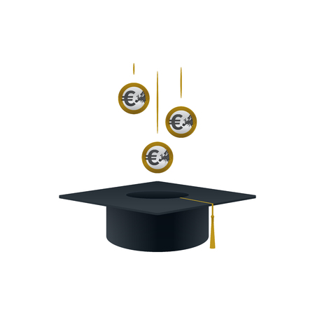 Concept of invest in education with euro coins and graduation cap shaped on white background. Educational and financial concept design.