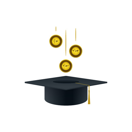 Concept of invest in education with gold coins and graduation cap shaped on white background. Educational and financial concept design. Illustration