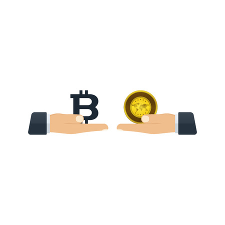Hands giving bitcoin and gold to each other on white background. Financial concept design. Ilustração