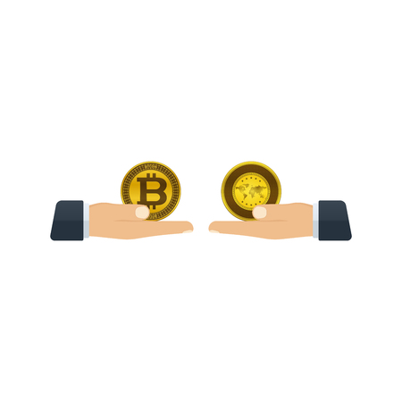 Hands giving bitcoin and gold to each other on white background. Financial concept design. Illustration