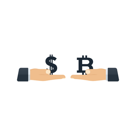 Hands giving dollar and bitcoin to each other on white background. Financial concept design. Illustration