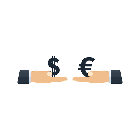 Hands giving dollar and euro to each other on white background. Financial concept design. Ilustração