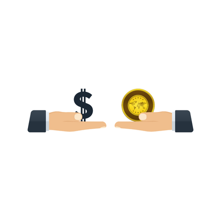 Hands giving dollar and gold to each other on white background. Financial concept design.