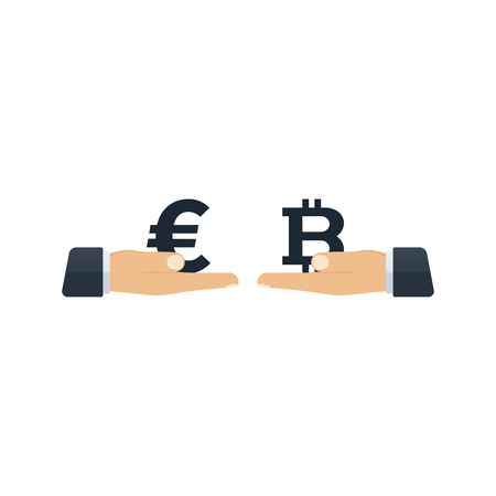Hands giving euro and bitcoin to each other on white background. Financial concept design.