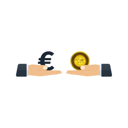 Hands giving euro and gold to each other on white background. Financial concept design.