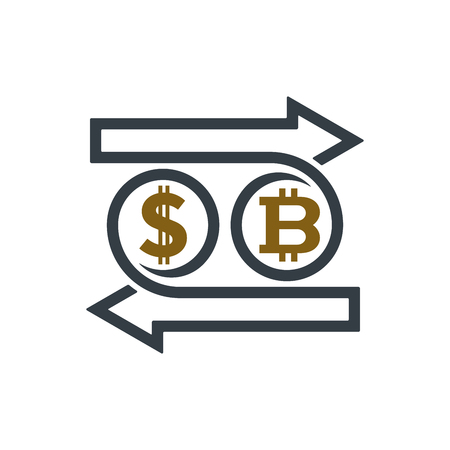 Concept of exchanging dollar and bitcoin on white background. Financial concept design. Ilustracja