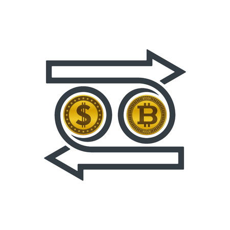 Concept of exchanging dollar and bitcoin on white background. Financial concept design. Illustration