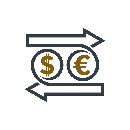 Concept of exchanging dollar and euro on white background. Financial concept design.