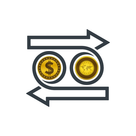 Concept of exchanging dollar and gold on white background. Financial concept design.