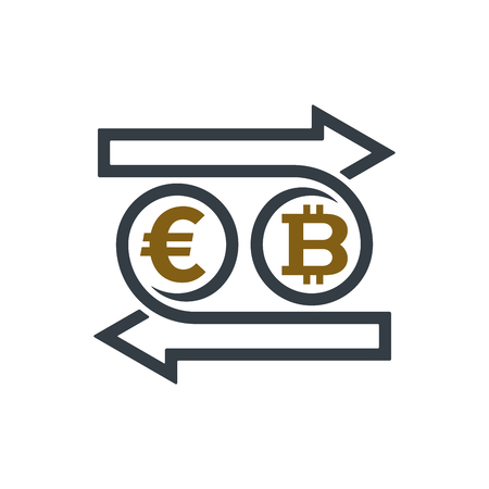 Concept of exchanging euro and bitcoin on white background. Financial concept design.