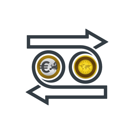 Concept of exchanging euro and gold on white background. Financial concept design.