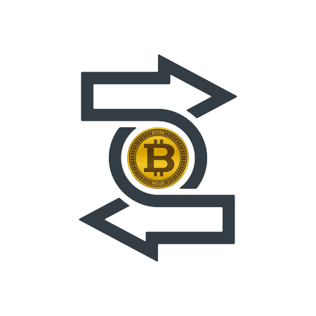 Change icon with bitcoin on white background. Financial concept design.