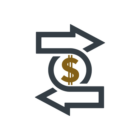 Change icon with dollar sign on white background. Financial concept design.