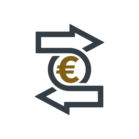 Change icon with euro symbol on white background. Financial concept design. Illustration