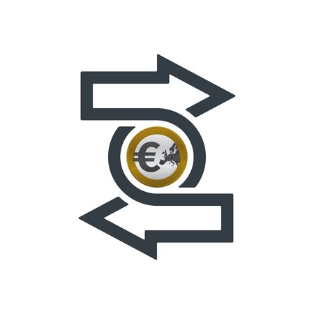 Change icon with euro coin on white background. Financial concept design.
