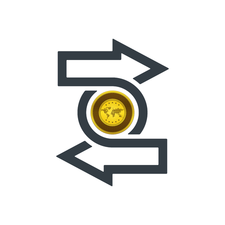 Change icon with gold coin on white background. Financial concept design. Illustration