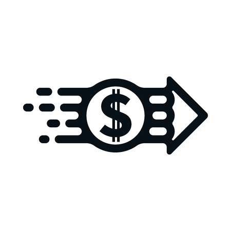 Dollar from sender to receiver on white background. Financial concept design. Ilustração