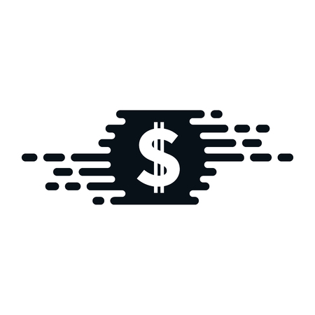 Fast currency exchanging icon with dollar sign on white background. Financial concept design. Ilustração
