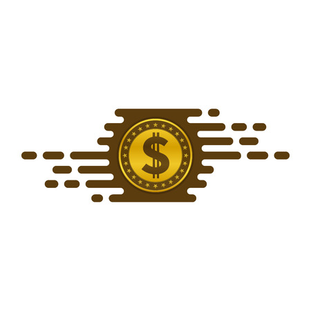 Fast currency exchanging icon with dollar coin on white background. Financial concept design.